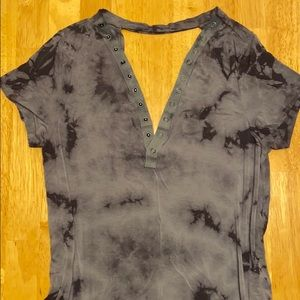 American Eagle blouse open front open back grey m